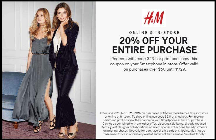 H&M Coupon August 2017 20% off everything at H&M, or online via promo code 3231