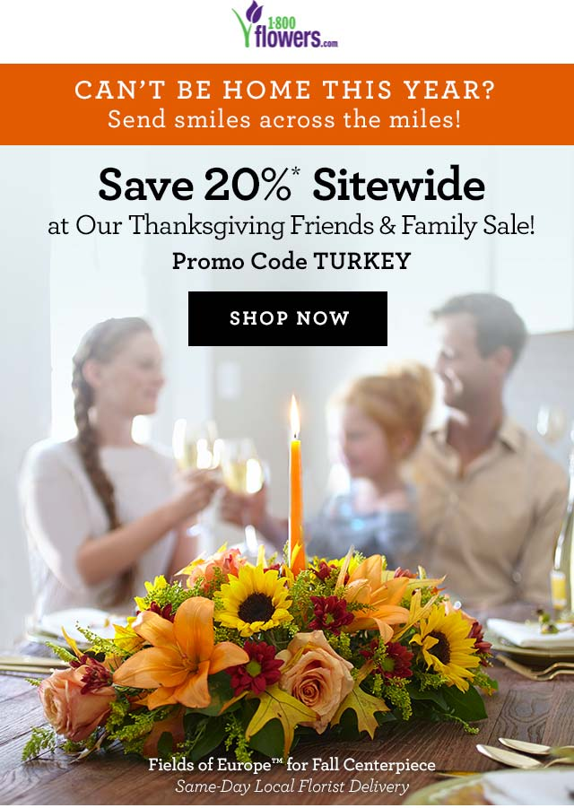 1-800-Flowers.com Promo Coupon 20% off everything at 1-800-Flowers via promo code TURKEY