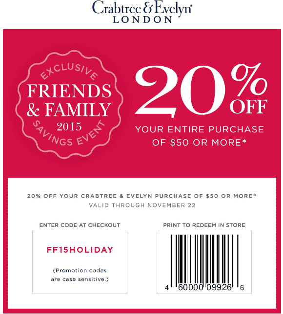 Crabtree & Evelyn Coupon February 2017 20% off $50 at Crabtree & Evelyn, or online via promo code FF15HOLIDAY