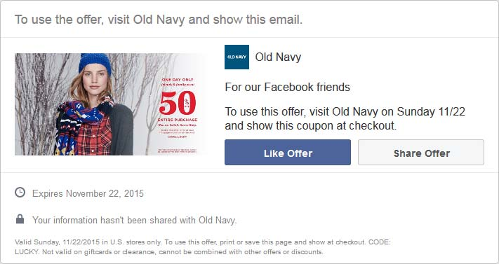 Old Navy Coupon November 2017 50% off everything Sunday at Old Navy