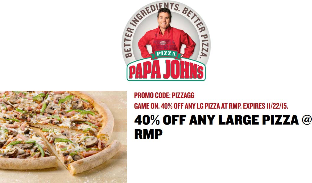 Papa Johns Coupon November 2017 40% off a large pizza at Papa Johns via promo code PIZZAGG