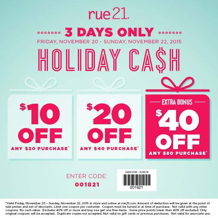 Rue21 Coupon June 2018 $10 off $20 & more at rue21, or online via promo code 001821
