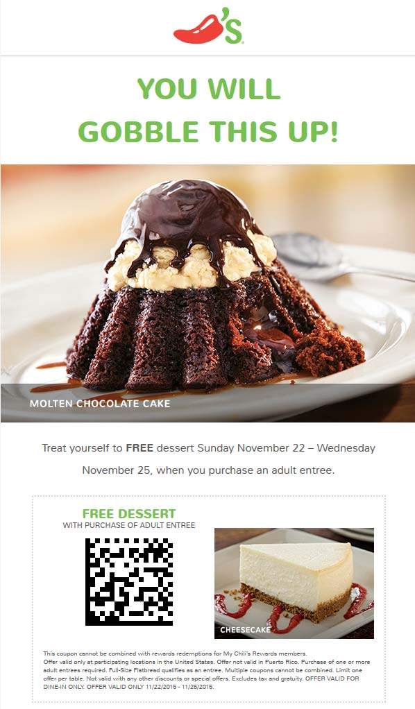 Chilis Coupon April 2017 Free dessert with your entree at Chilis
