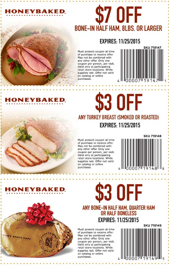 HoneyBaked Coupon October 2016 $7 off ham, $3 off turkey breast at Honeybaked Ham