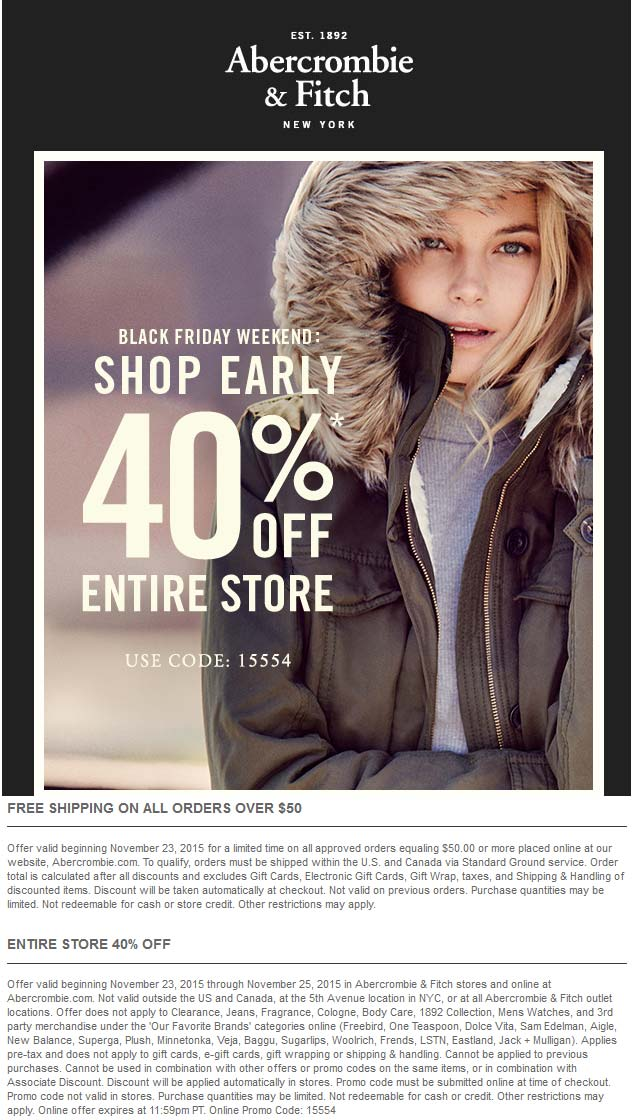 Abercrombie & Fitch Coupon May 2018 40% off everything at Abercrombie & Fitch, or online via promo code 15554