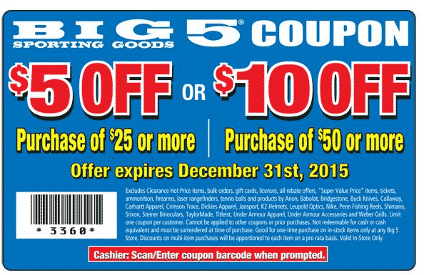 Big 5 Coupon December 2018 $5 off $25 & more at Big 5 sporting goods