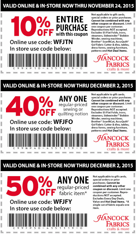 Hancock Fabrics Coupon November 2017 50% off a single item & more at Hancock Fabrics, or online via promo code WFJFY