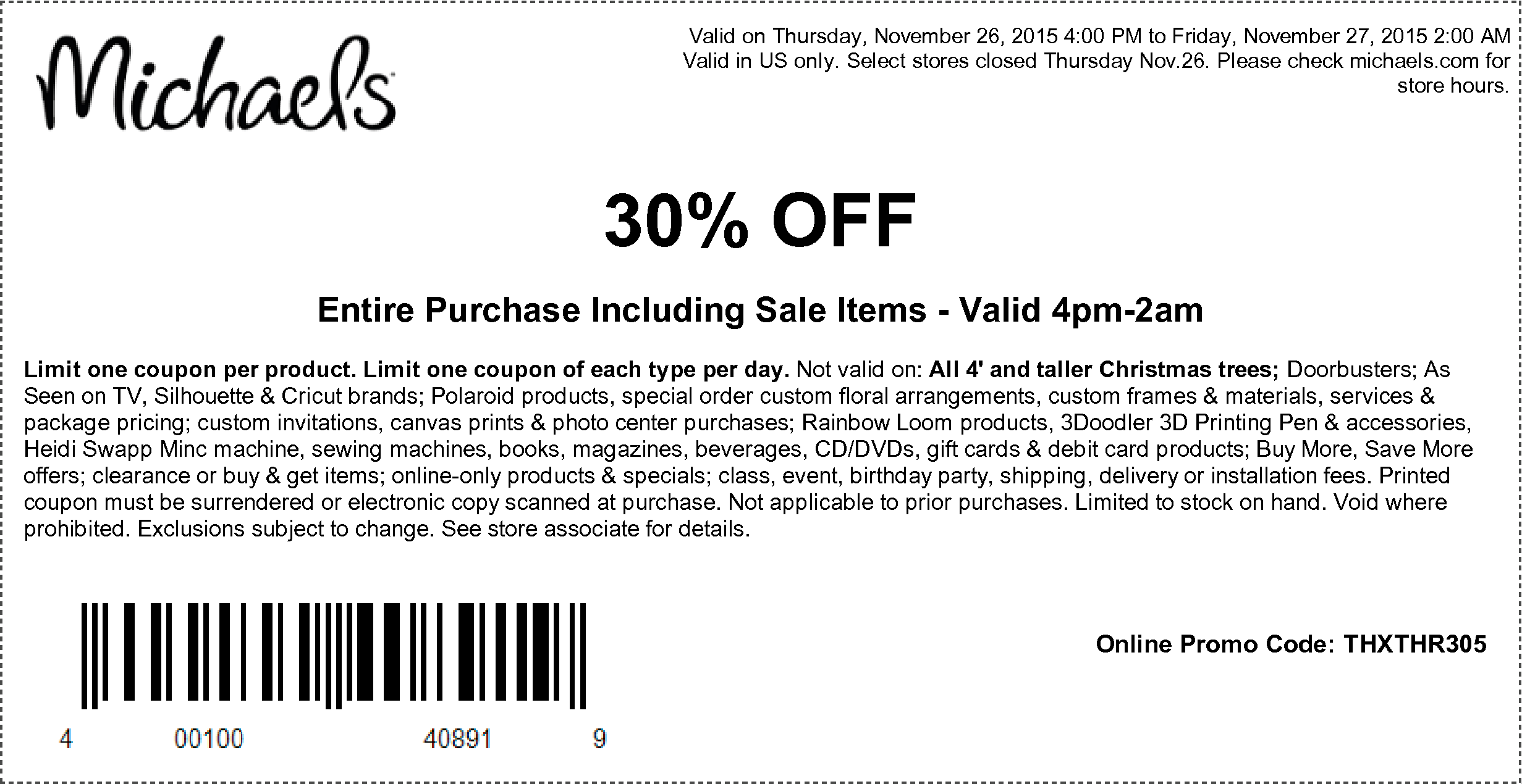 Michaels Coupon March 2017 30% off everything Thursday at Michaels, or online via promo code THXTHR305