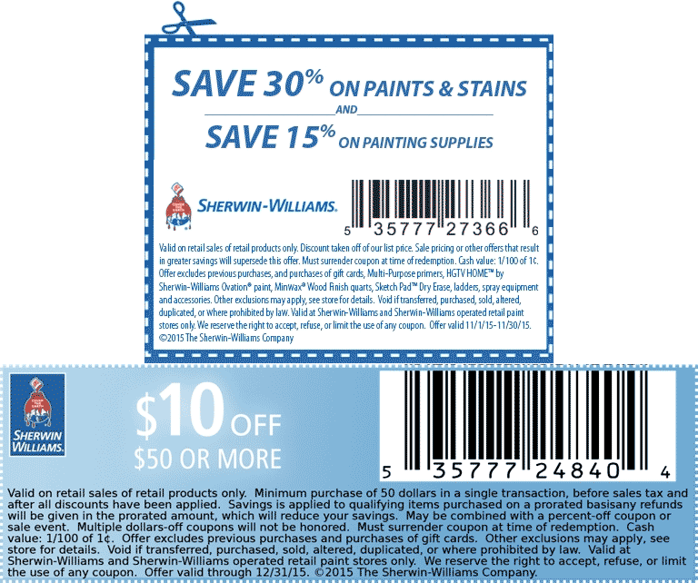 Sherwin Williams Coupon March 2017 $10 off $50 & 30% off at Sherwin Williams paints & stains