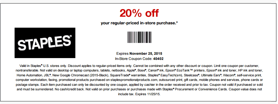 Staples Coupon November 2018 20% off at Staples