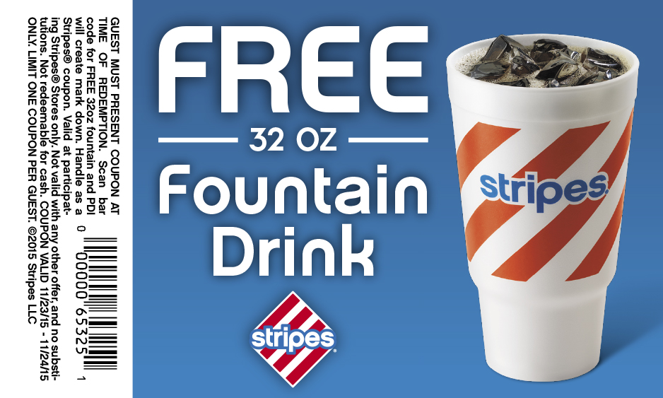 Stripes Coupon December 2018 32oz fountain drink free today at Stripes gas stations