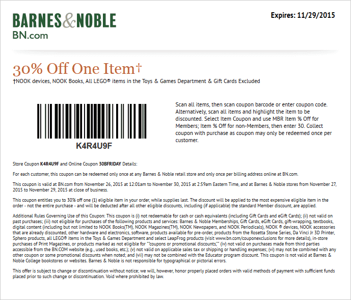 Barnes & Noble Coupon June 2017 30% off a single item at Barnes & Noble, or online via promo code 30BFRIDAY