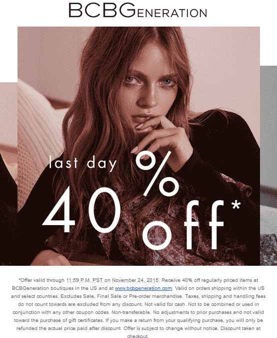 BCBG.com Promo Coupon 40% off today at BCBG, ditto online
