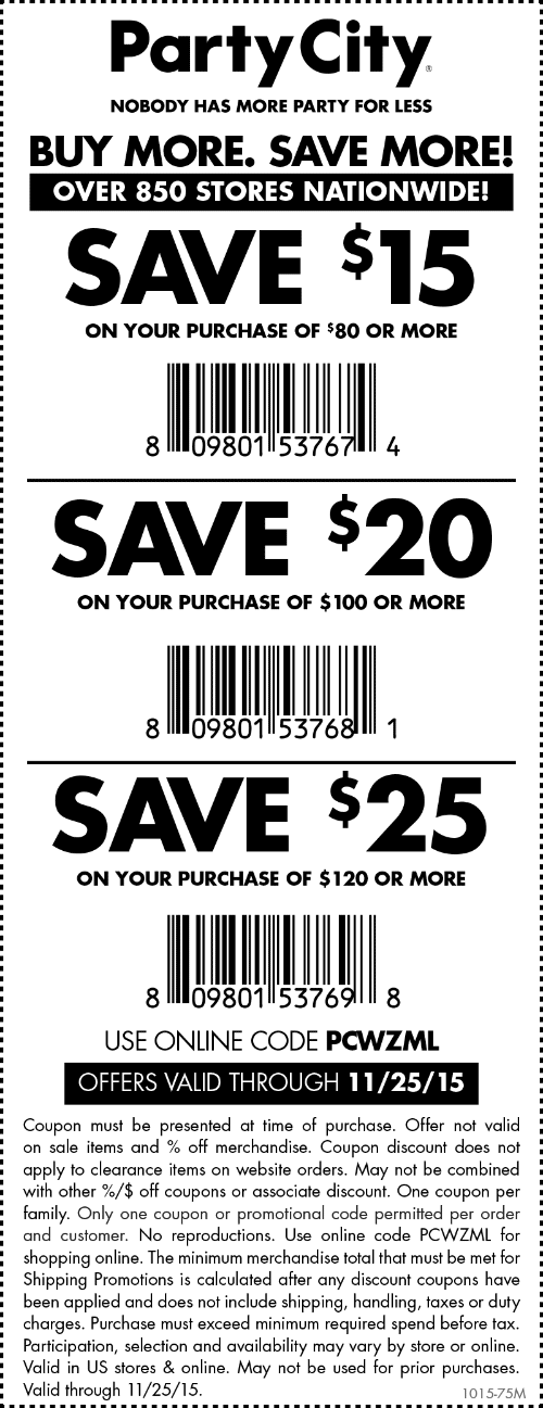 Party City Coupon November 2017 $15 off $80 & more at Party City, or online via promo code PCWZML