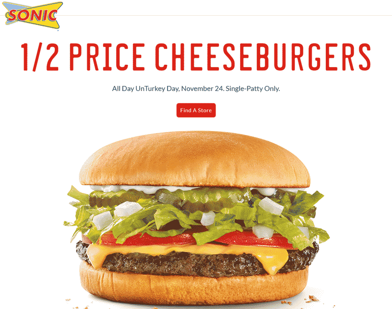 Sonic Drive-In Coupon February 2017 50% off cheeseburgers today at Sonic Drive-In