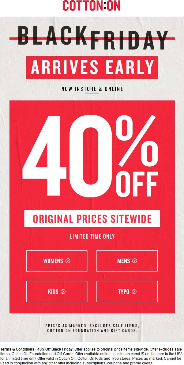 Cotton On Coupon September 2017 40% off at Cotton On, ditto online