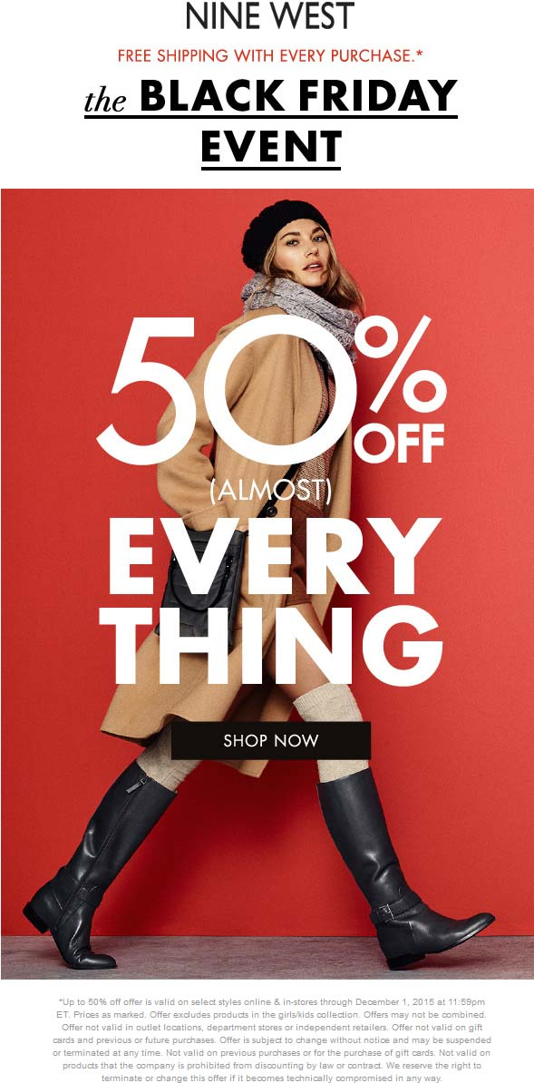 Nine West Coupon April 2018 50% off almost everything at Nine West, ditto online