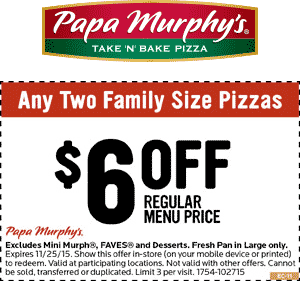 picture relating to Papa Murphys Printable Coupons titled Papa Murphys Discount coupons - $6 off a several pizzas presently at Papa