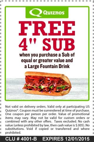 Quiznos Coupon January 2017 Second 4in sub free with your drink at Quiznos