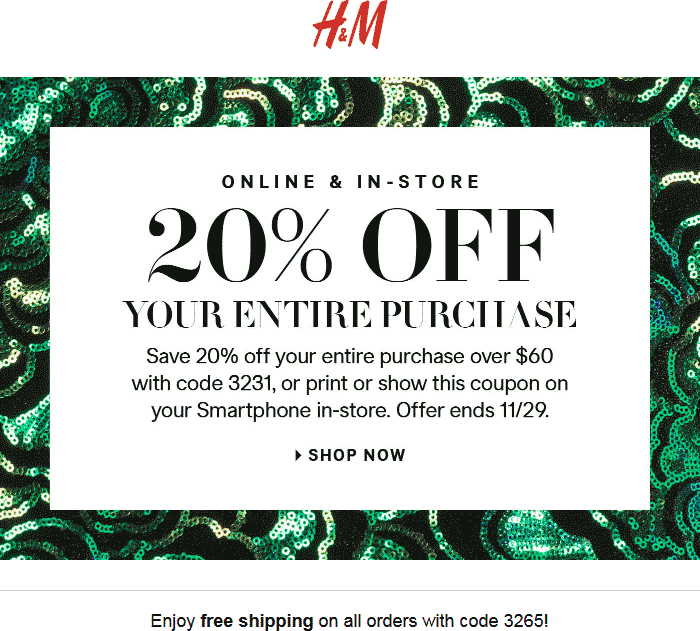 H&M Coupon March 2018 20% off $60 at H&M, or online via promo code 3231