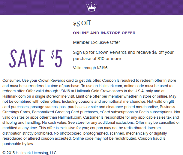 Hallmark Coupon December 2016 $5 off $10 via free rewards card at Hallmark, ditto online
