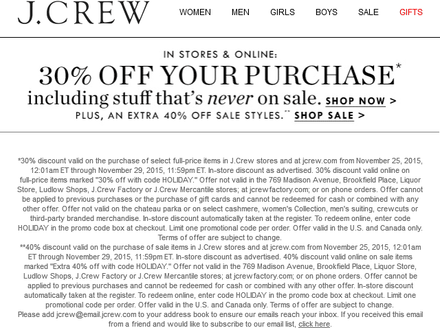 J.Crew Coupon January 2018 30% off at J.Crew, or online via promo code HOLIDAY
