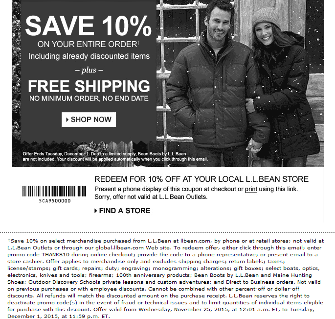 L.L. Bean Coupon April 2018 10% off everything at L.L. Bean, or online via promo code THANKS10