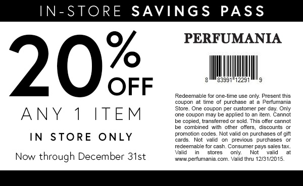 Perfumania Coupon July 2017 20% off a single item at Perfumania