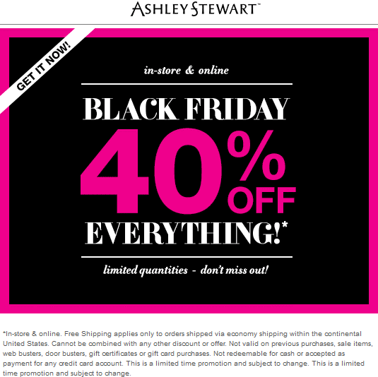Ashley Stewart Coupon August 2017 40% off everything today at Ashley Stewart, ditto online