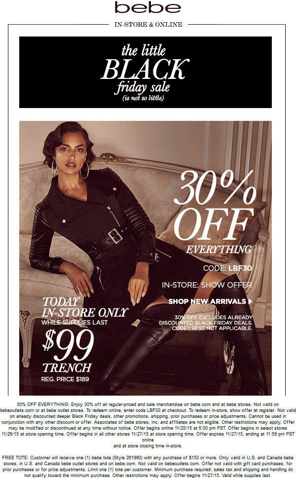 Bebe Coupon December 2016 30% off everything today at bebe, or online via promo code LBF30