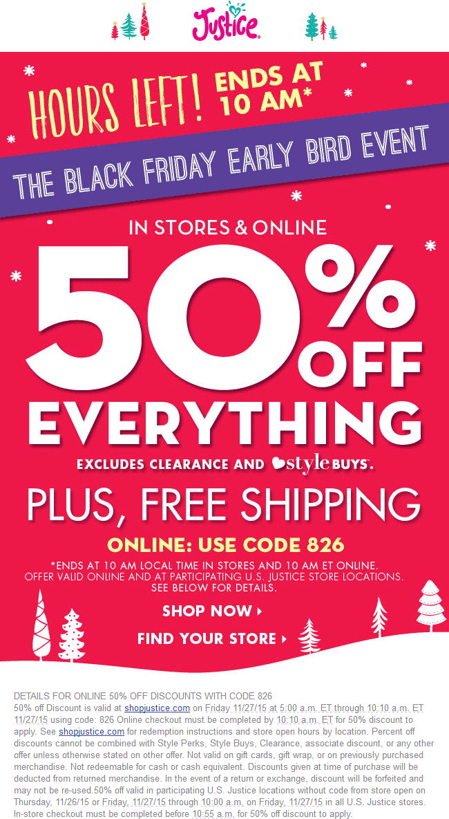 Justice Coupon June 2019 50% off everything til 10am at Justice, ditto online