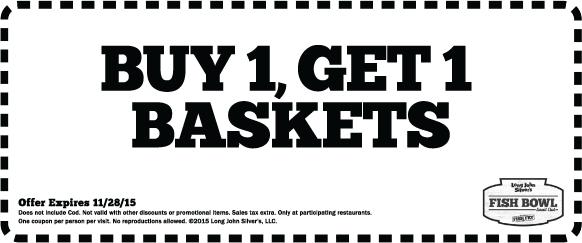 Long John Silvers Coupon July 2018 Second basket free at Long John Silvers restaurants