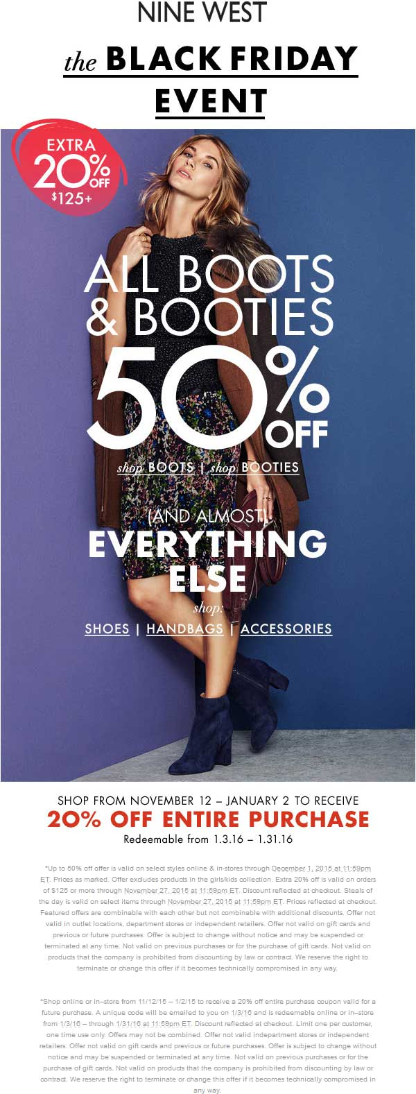 Nine West Coupon December 2016 50% off + 20% future coupon at Nine West, ditto online