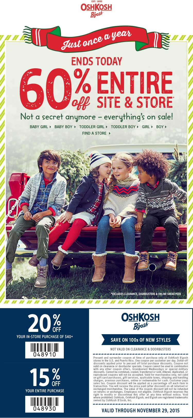 OshKosh Bgosh Coupon May 2018 60% off everything today at Carters & OshKosh Bgosh, ditto online