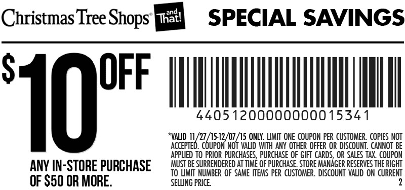 Christmas Tree Shops Coupon May 2018 $10 off $50 at Christmas Tree Shops