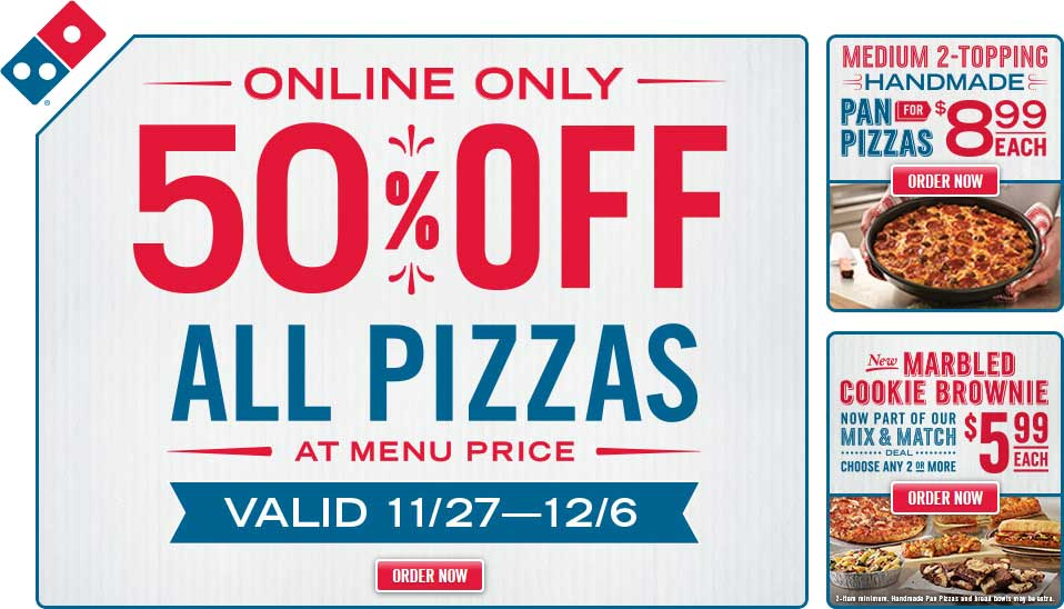Dominos Coupon October 2016 50% off all pizzas online at Dominos