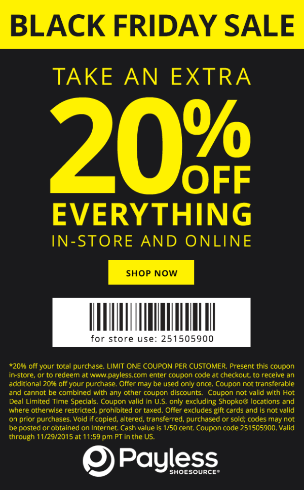 Payless Shoesource Coupon October 2018 20% off everything at Payless Shoesource, or online via promo code 251505900