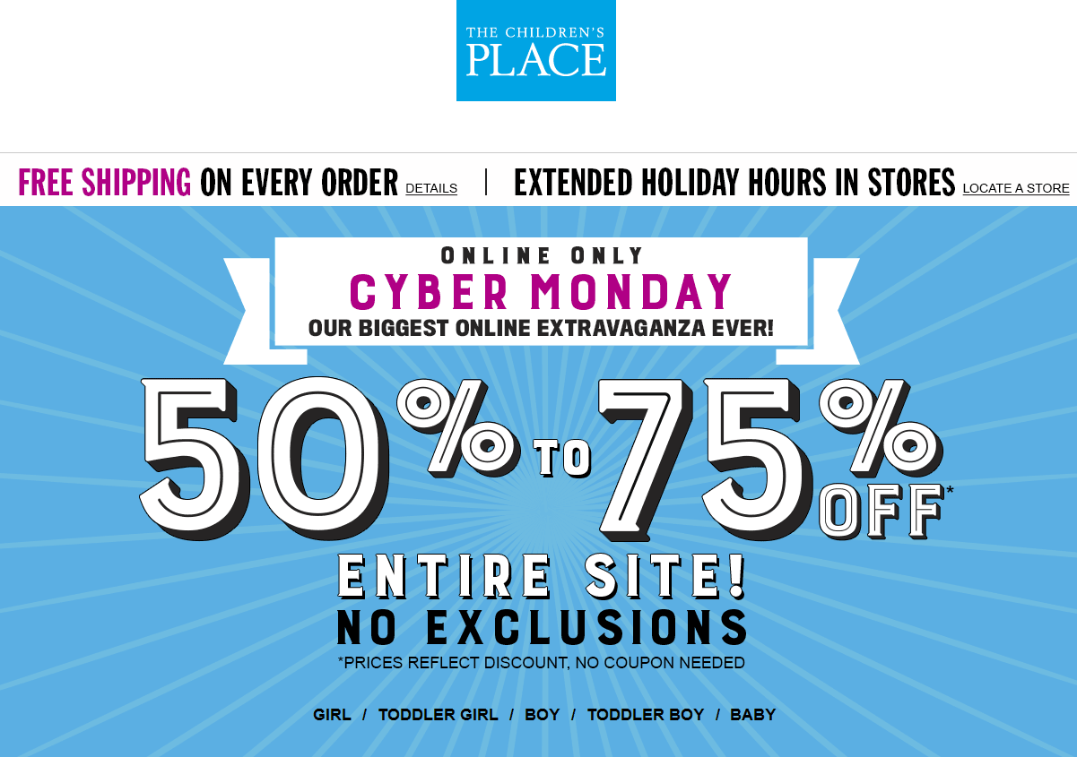 Childrens Place Coupon January 2017 50-75% off everything online Monday at The Childrens Place
