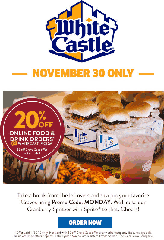 White Castle Coupon September 2018 20% off online at White Castle via promo code MONDAY