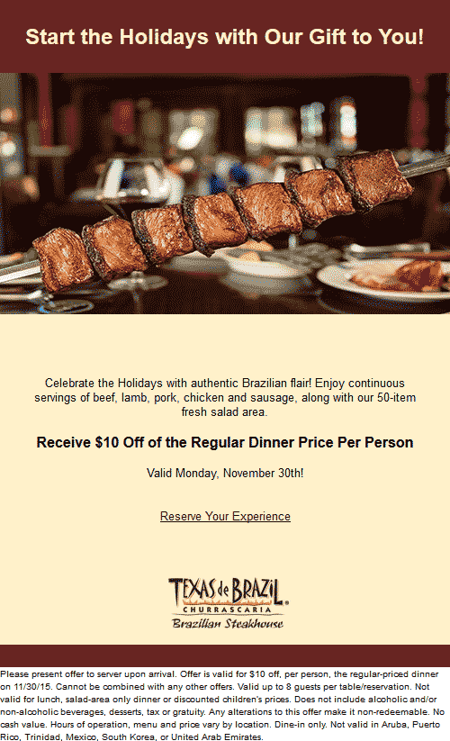 Texas de Brazil Coupon January 2018 $10 off dinner tonight at Texas de Brazil steakhouse