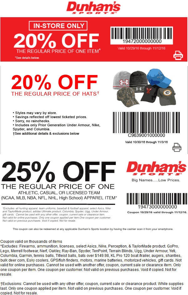 DunhamsSports.com Promo Coupon 20% off a single item & more at Dunhams Sports