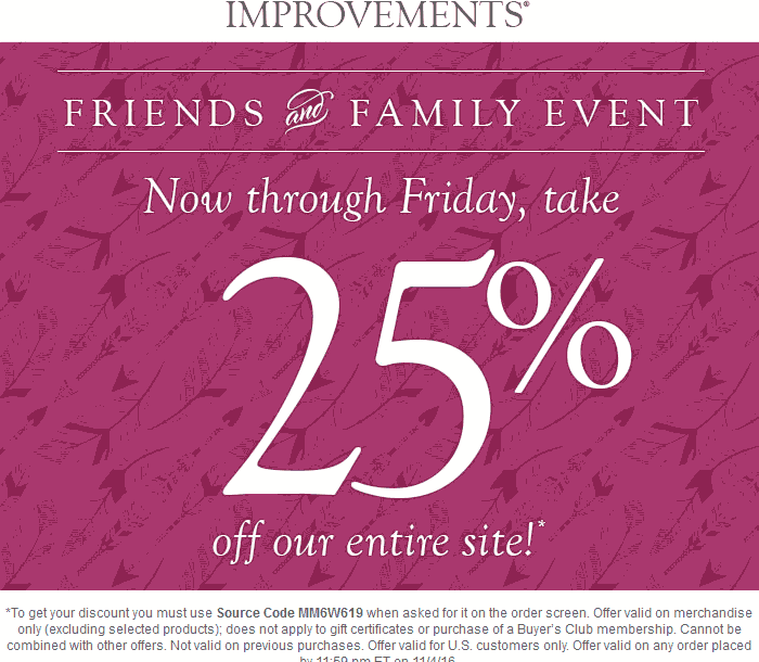 Improvements.com Promo Coupon 25% off everything online at Improvements catalog via promo code MM6W619