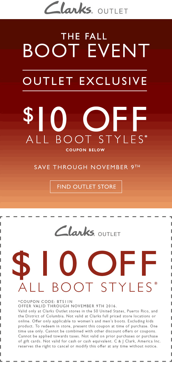 ClarksOutlet.com Promo Coupon $10 off boots at Clarks Outlet