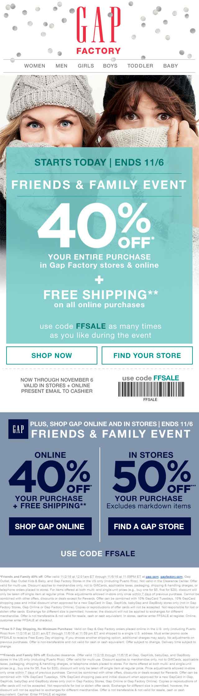 Gap Coupon March 2019 50% off at Gap, Gap Outlet, Gap Outlet Kids & Baby, and Gap Factory, or 40% online via promo code FFSALE