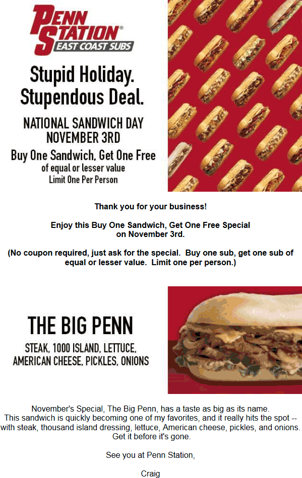 PennStation.com Promo Coupon Second sandwich free Thursday at Penn Station subs