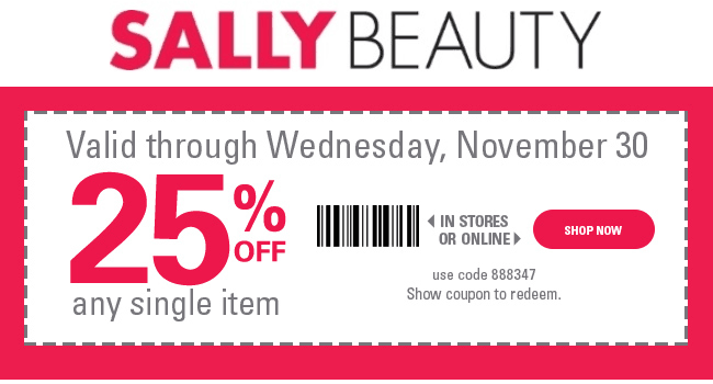 SallyBeauty.com Promo Coupon 25% off a single item at Sally Beauty, or online via promo code 888347