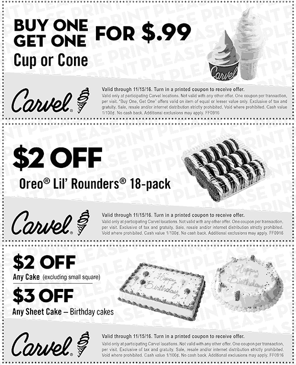 Carvel.com Promo Coupon Second ice cream cone for a buck & more at Carvel