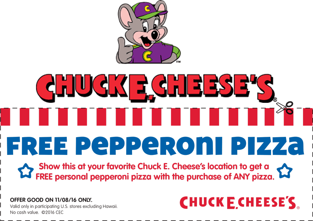 Chuck E. Cheese Coupon March 2019 Personal pepperoni free with any pizza Tuesday at Chuck E. Cheese