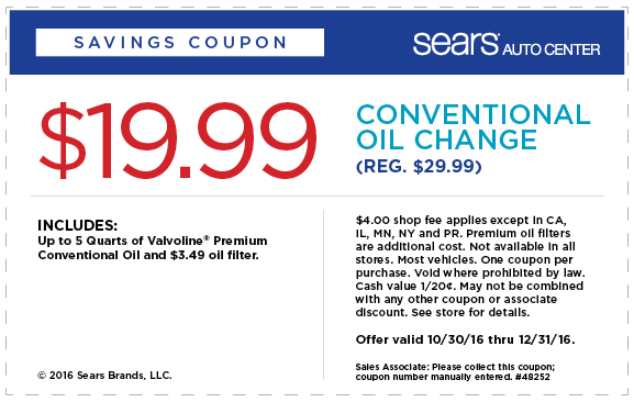 OilChange.com Promo Coupon $20 oil change & filter at Sears Auto