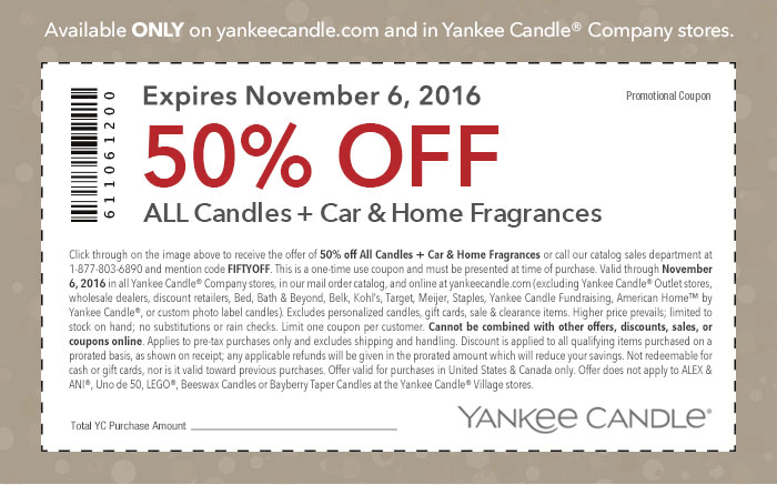 Yankee Candle Coupon March 2019 50% off candles & fragrances at Yankee Candle, or online via promo code FIFTYOFF
